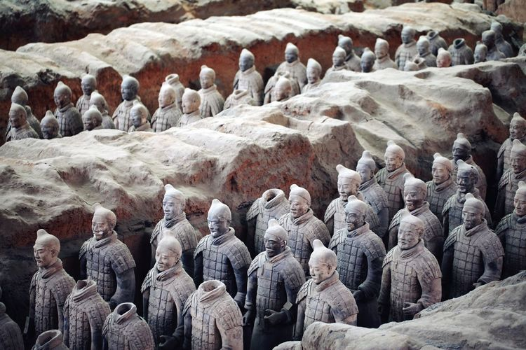 High angle view of terracotta army