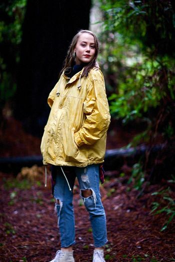 Something different One Person Full Length Real People Outdoors Rubber Boot Standing Yellow One Girl Only Autumn Forest Childhood Nature Day Water People