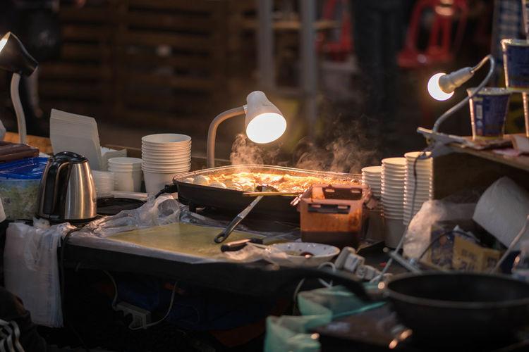 Illuminated lamp in street market