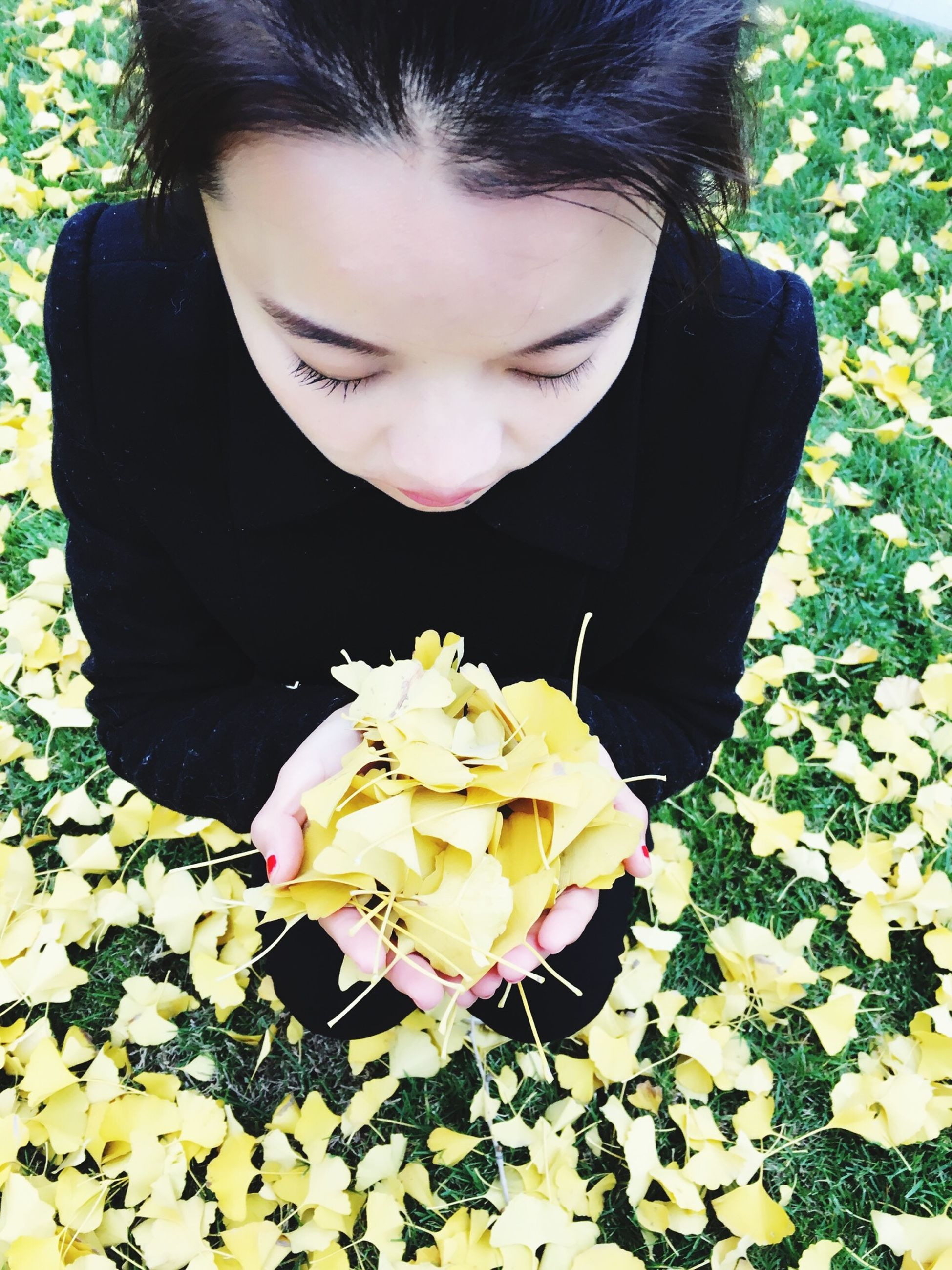 flower, fragility, lifestyles, freshness, person, leaf, casual clothing, petal, flower head, holding, leisure activity, yellow, front view, high angle view, nature, close-up, elementary age, day