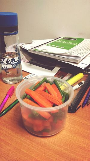 Day 1: Healthy lunch at the library, Carrots and Squeaky Green Beans :)