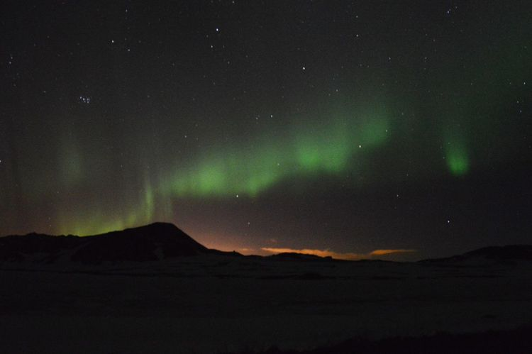 Iceland Aurora Borealis Northern Lights Silhouette Mountain Nightphotography Night Sky Travel Photography Going The Distance Landscape Traveling Beauty Stargazing Stars Nikon D3200