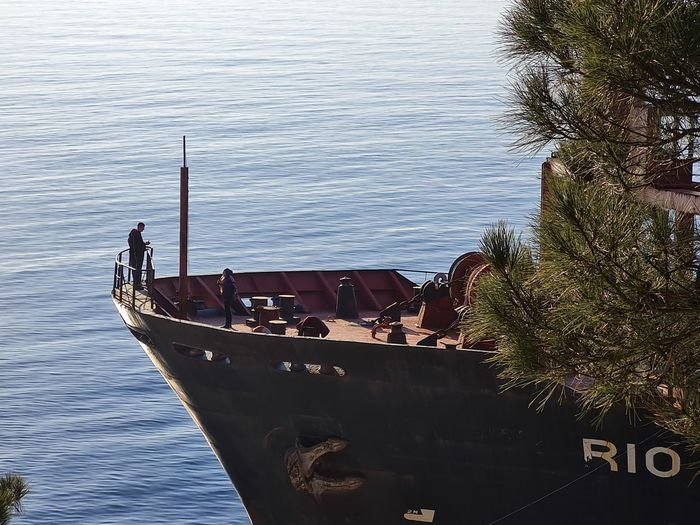 High angle view of fishing boat moored in sea