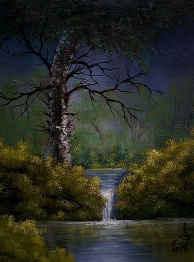 The tiny waterfall at dawn.my dear friends help preserve our natural resources ,every drop of water is important for us for animals for the trees and the air we breathe in so please my friends this is your responsibility and everything starts with you,please do your part. Beauty In Nature Waterfalls Tranquility Tranquil Scene Tree Water Scene Nature Painting Drawing Oil Painting Fine Art Art, Drawing, Creativity My Art Colllection Cretiveart My Artwork Friendship Mother Earth Love ♥ Koi.