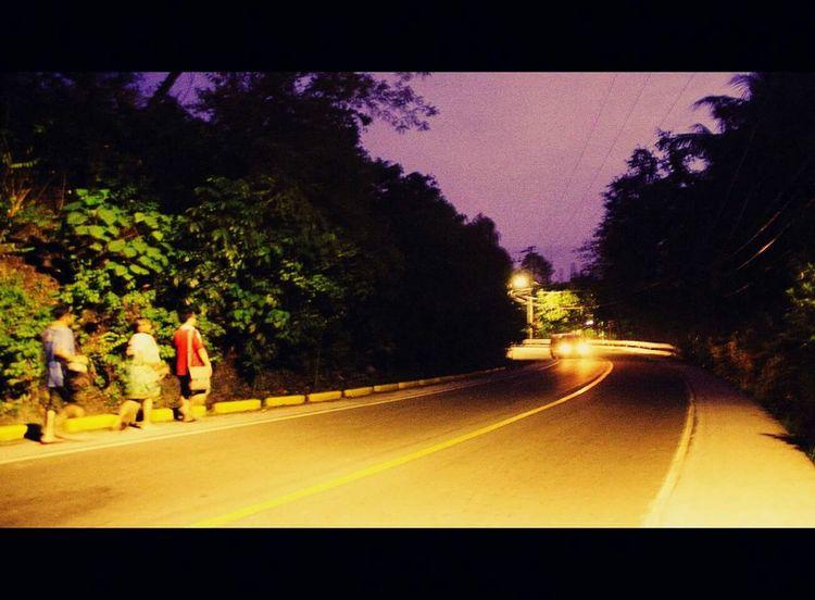 Going Home Hiking Three Roadside People Evening Walk Evening Light Road Busay Cebu