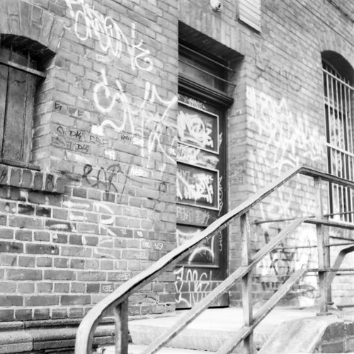 Abandoned Black And White Brick Wall Film Photography Fomapan100 Graffiti Leipzig-knauthain Medium Format Steps And Staircases Train Station Xenar 3.5/75mm