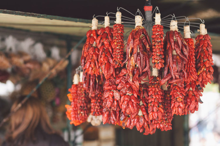 Red Chili Peppers Hanging In Shop