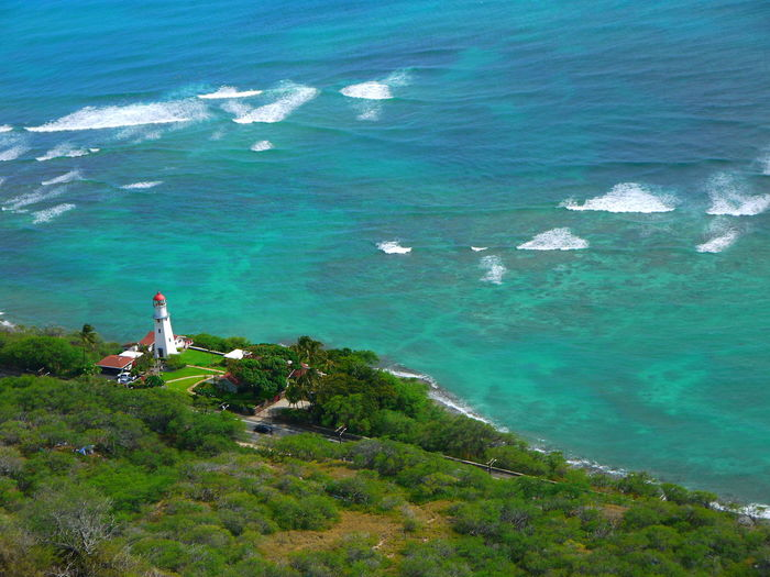 Diamond Head Lighthouse, Oahu, Hawaii United States Hawaii Island Summer Pacific Ocean Coastline Aerial View Colorful Outdoors Diamond Head Lighthouse Honolulu  Diamond Head Lookout Water Sea Beauty In Nature Scenics - Nature High Angle View Nature Land Day Plant Tranquility Tranquil Scene No People Beach Idyllic Green Color Motion Wave Growth Turquoise Colored Oahu Wallpaper Scenic America Beautiful Famous Travel Nature