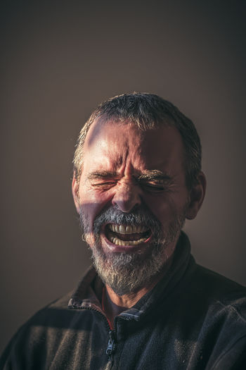 Aggressive Angy Beard Closed Eyes Cry Desperate Emotion Expression Gray Hair Headshot Indoors  Man Pain Portrait Real People Senior Adult Shout Suffer Sunlight Teeths Vintage Fresh On Market 2017 HUAWEI Photo Award: After Dark