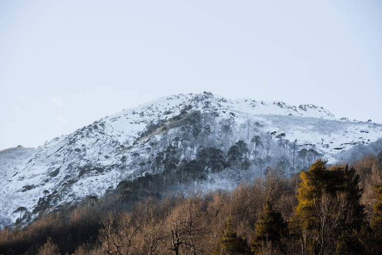 Snow capped mountain with white winter sky