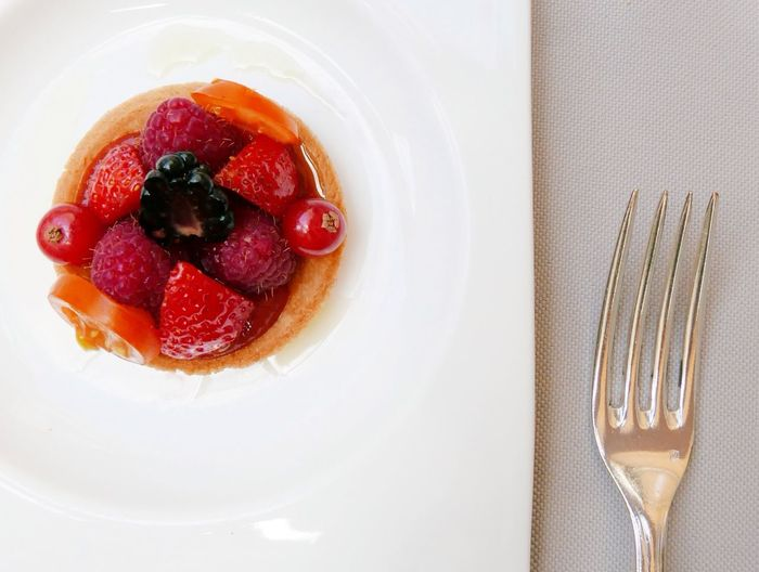 Directly Above Shot Of Fruit Tart Served In Plate