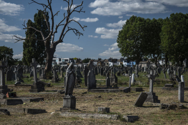 Panoramic view of cemetery against sky