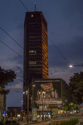 Night photo of one of the few skyscrapers in belgrade City Skyscraper Night Illuminated Traffic Street Lights Architecture