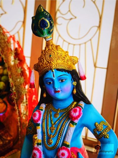 Multi Colored Spirituality Sculpture Religion Close-up Krishna Vishnu Supreme lord Devotees Devotion Hinduism