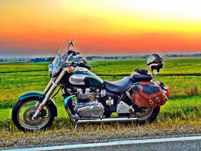 Dramatic Sky Transportation On The Move Classic Sunset Evening Sky Bonneville America Triumph Motorcycle Illinois Evening Grass