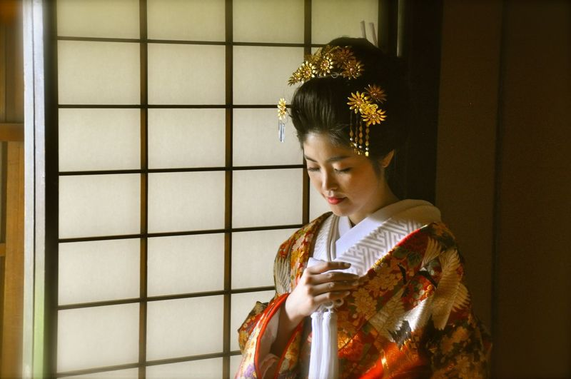 Japan Japan Photography Wedding Architecture Arts Culture And Entertainment Beautiful Woman Clothing Contemplation Holding Indoors  Lifestyles Looking One Person Portrait Real People Standing Three Quarter Length Traditional Clothing Waist Up Women Young Adult