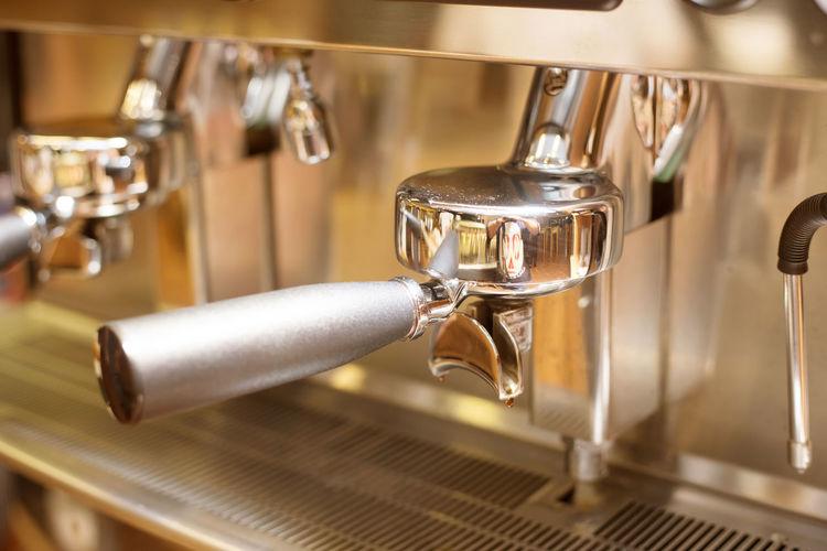 coffee machine in coffee shop Coffee Espresso Automatic Bung Cafe Cappuccino Closely Dispenser Espresso Maker Machinery Mill Prepare