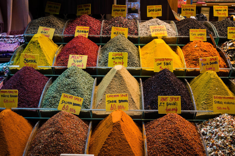 High angle view of various spices displayed at market stall