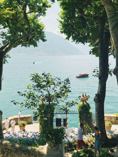 Water Tree Nature Day Beauty In Nature Outdoors Scenics Tourist Holiday Travel Real People Historic Luxury Boat Lake Como Italy Sea People High Angle View Lenno Villa Del Balbianello Lombardy Tourist Attraction  Gate Visit