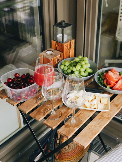 party on a balcony Grapes Wine Cherry Fruit Drink Drinking Glass Variation Choice Food And Drink Close-up Prepared Food Served Various Starter Ready-to-eat Dish Raspberry Strawberry Wineglass Serving Size Fruit Salad
