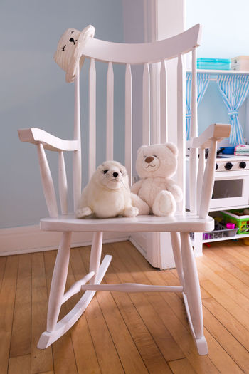 View of stuffed toy on wooden table