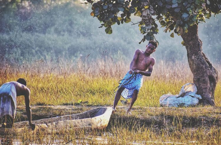 hard word to satisfy the hunger !! Fisherman Village Life Riverbank Outdoors Two People Tree Nature People First Eyeem Photo