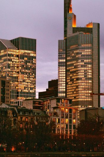 Three Generations Of Architecture Buildings Of Different AgesUrban Skyline Cityscape Skyscraper Building Exterior Evening Light View From The Opposite Main River Bank City Life City Architecture Sunset Sky Office Building Exterior Night City Life Outdoors No People Travel Destinations Frankfurt Am Main Germany🇩🇪 Been There. The Architect - 2018 EyeEm Awards