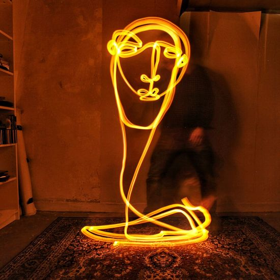 Continuouslineart Lightpaintingphotography Lightpainting Singleline Drawing Portrait Lightphotography