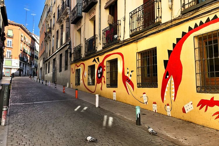 Street Art Graffiti Streets Of Madrid Building Exterior Built Structure Architecture City Building Street Residential District