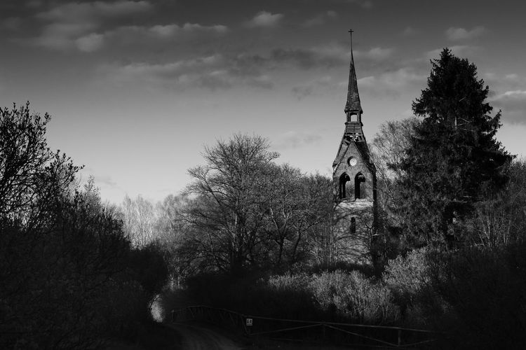 Abonded Buildings Architecture Black And Wihit Church Church Tower Cloud - Sky Day Forest Malga Masuria Mazury No People Outdoors Tree