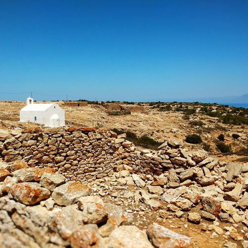 Med church and old settlement Whitewashed Greek Church Iconic Landscape Mediterranean Landscape Snapseed Mobile Photography Architectural Photography No People Mediterranean Nature Crete Greece Arid Climate Arid Landscape