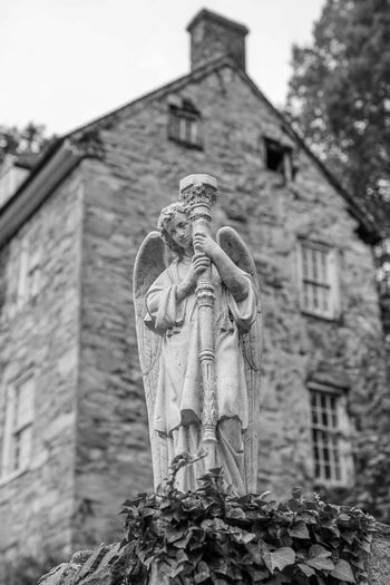 old rustic statue Water Blackandwhite Monochrome Building Country Town Tree Statue Sculpture Human Representation Close-up Architecture Sky Building Exterior