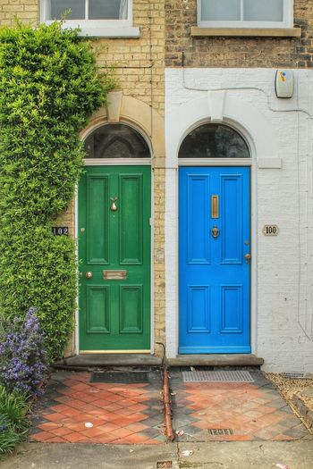 Architecture Blue Building Exterior Built Structure Closed Day Door England Entrance Entrance Façade Front Door Front Doors Green Color House Neighborhood Neighbors No People Outdoors Protection Residential Building Residential Structure Tiles Town Uk