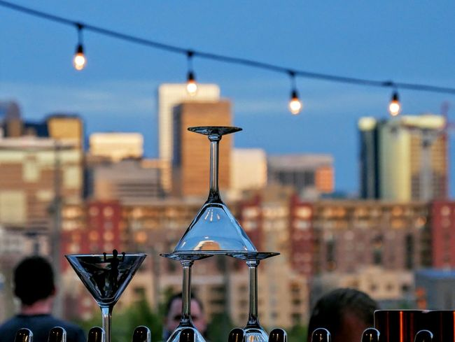 Half full or half empty? Martini Glass Bar Restaurant Scene Bar Scene City City Scape Urban Landscape Denver Colorado  Dusk In The City Blue Color Abstract Photography See The World Through My Eyes Seeing The World Differently Selective Focus Eyeemphoto Color Explosion Colour Of Life Been There.
