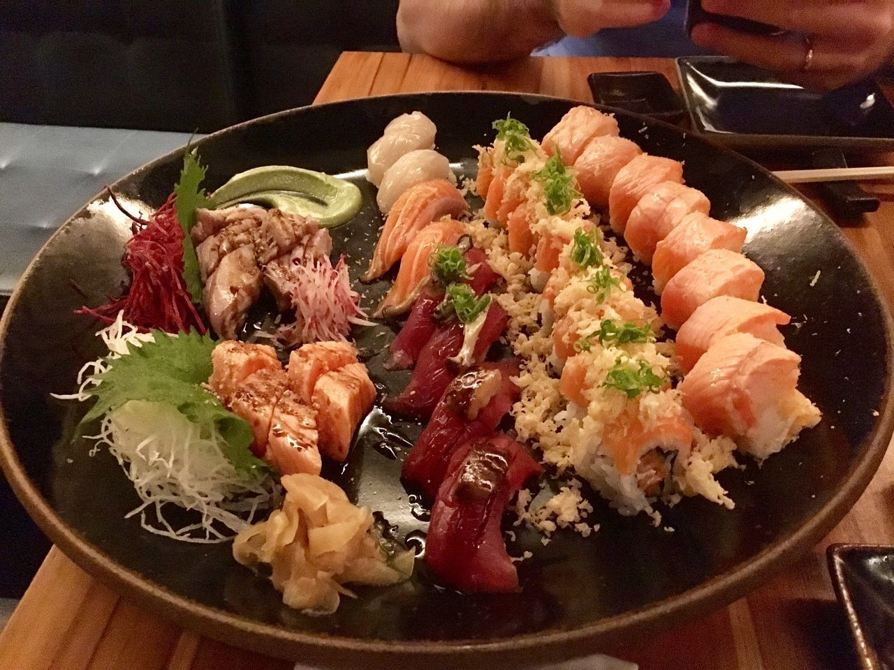 food and drink, food, freshness, ready-to-eat, healthy eating, indoors, wellbeing, meat, close-up, table, serving size, seafood, plate, meal, asian food, high angle view, still life, vegetable, japanese food, indulgence