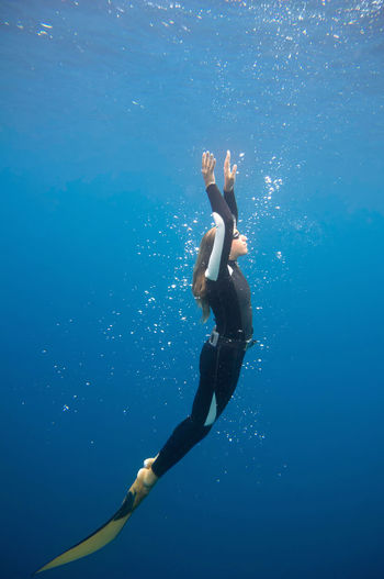 Free Diver Diving Out Free Diving Extreme Sports Underwater Woman Female Blue Water Flipper Adventure Freedom Sea Wetsuit One Person Nature 20s 25-30 Years Old Exploring UnderSea underwater photography Lifestyle One Woman Only Long Hair Carefree Outdoors Day
