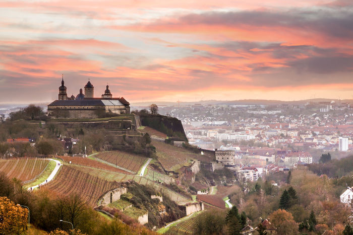 Sunset over Marienberg fortress in Würzburg, Germany. Bavaria Castle Dramatic Sky Marienberg Shades Of Winter Travel Photography Architecture Building Exterior Built Structure Cityscape Cloud - Sky Day Fortress High Angle View Medieval No People Sky Sunrise Tree Vineyard Wine