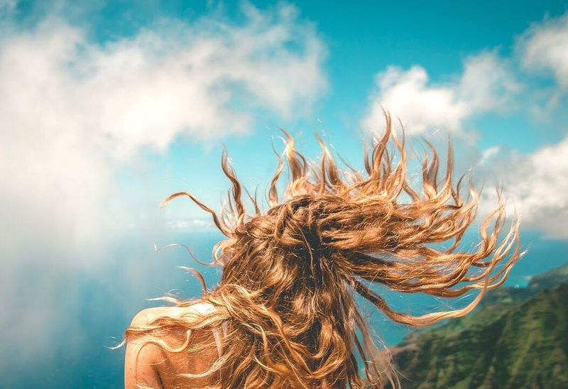 🏝🏃🏽💃⛰💨🌥⛺️ Sky Human Hair Cloud - Sky One Person Nature Wind Human Body Part Outdoors Women Blond Hair Day Close-up Human Hand People Hair Hairography Cloud Clouds And Sky Kauai Mountain Wind Hiking Blond
