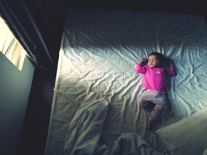 Sleeping Baby  Babyhood Bedroom View  Child Girls Childhood Rear View Pink Color Portrait A New Beginning EyeEmNewHere