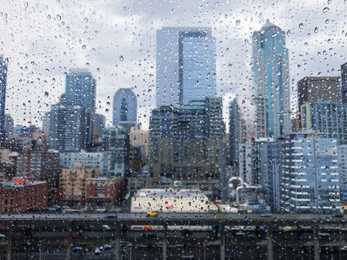 Seattle Drop Glass - Material Wet Rain Window RainDrop Weather Water Skyscraper Looking Through Window Rainy Season City Day Architecture Backgrounds No People