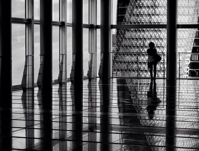 Japan Blackandwhite Woman Alone Building Sky Architecture Blackandwhite Photography