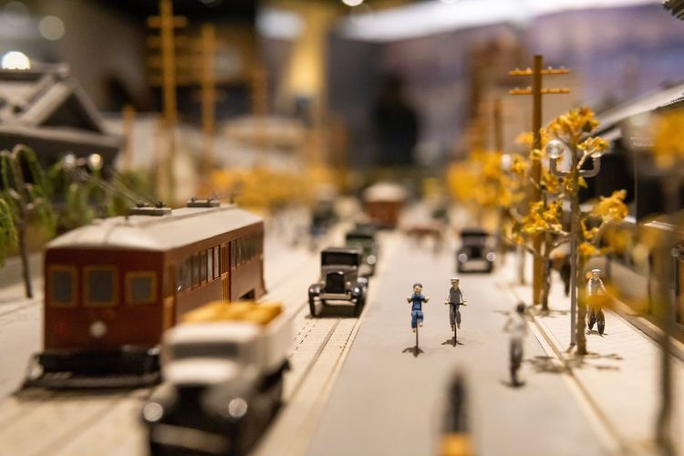 Communication in past. Ancient Art And Craft Japan Japanese Culture OSAKA Travel Art City Communication Education Exhibition Figurine  History Human Representation Mode Of Transportation Model Museum People Public Transportation Representation Selective Focus Small Street The Past Transportation