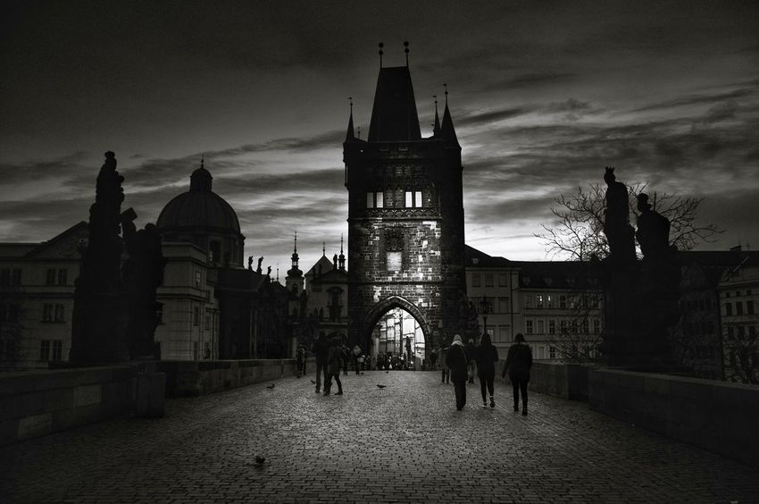 Prague IV Prague Blackandwhite Bnw Monochrome EyeEm Best Shots Black And White Place of Heart Mood Contrast Dream Prague Czech Republic Outdoors EyeEm Selects darkness and light Politics And Government Place Of Worship History Sky Architecture Building Exterior Built Structure Clock Tower Town Square Old Town