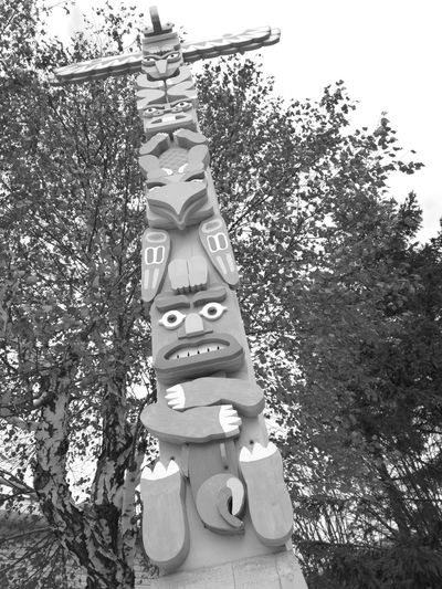 May i ask you a favor... Totem WoodArt Blackandwhite Low Angle View Outdoors No People Nature Sky