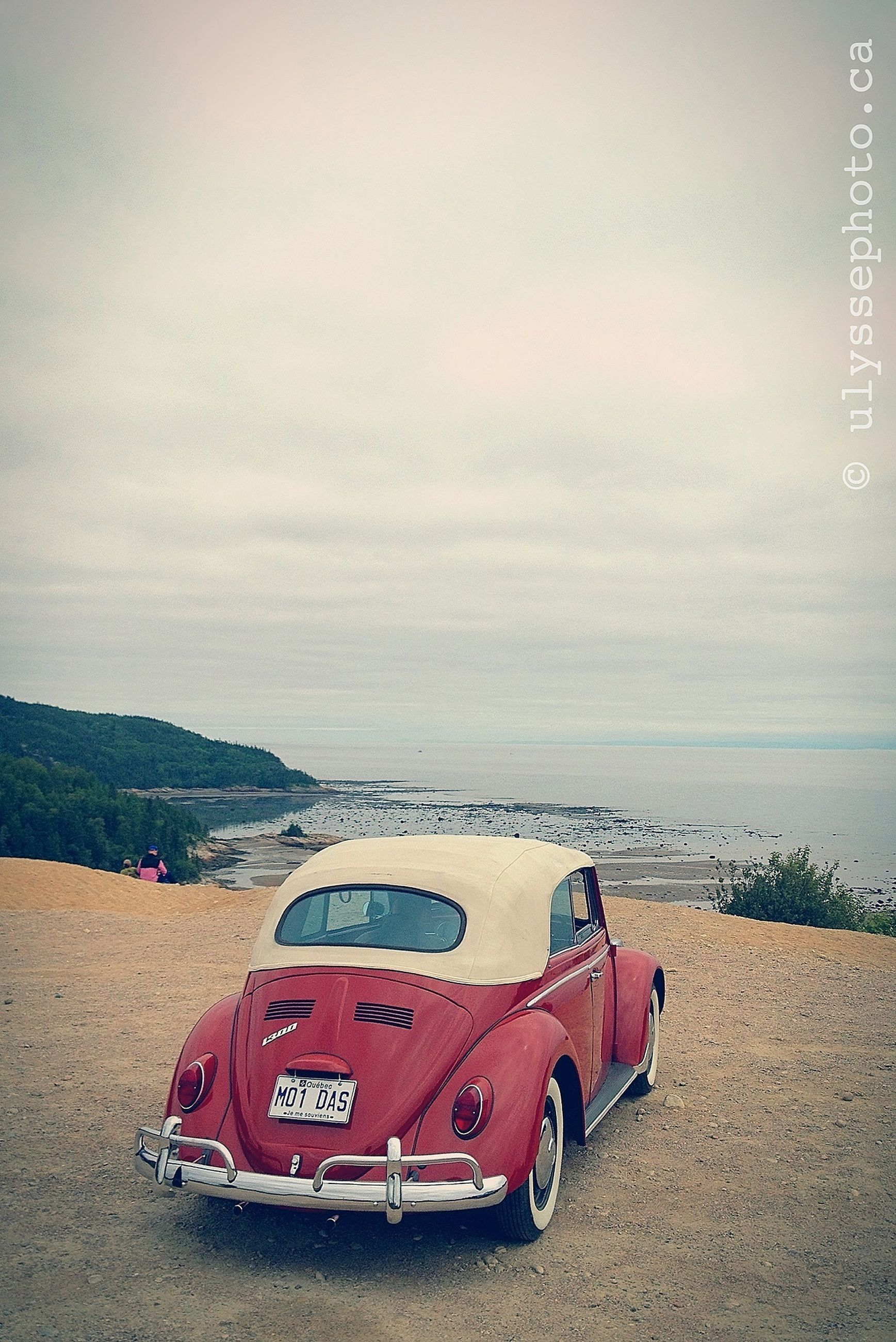 transportation, sky, mode of transport, red, sea, beach, sand, cloud - sky, land vehicle, car, water, shore, tranquility, horizon over water, outdoors, nature, scenics, tranquil scene, no people, travel