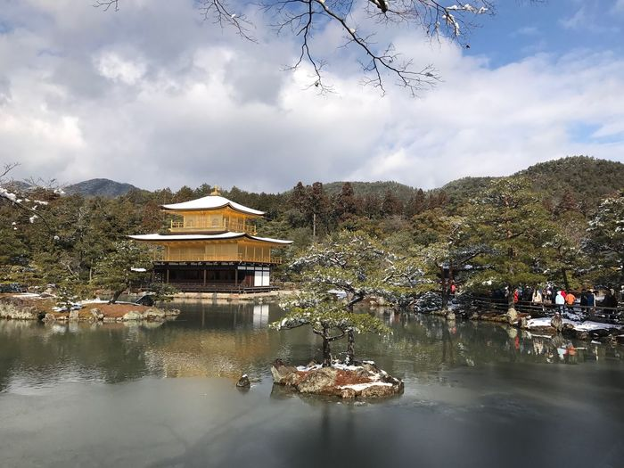 Kinkakuji(The Temple of the Golden Pavilion). Water Tree Reflection Architecture Built Structure Sky Lake Building Exterior Nature Day Outdoors Cloud - Sky Beauty In Nature No People Scenics Japanese Garden Kyoto Shrine EyeEm Golden Pavilion  Kinkakuji