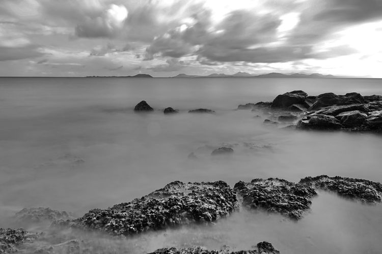eternal peace Sky Cloud - Sky Beauty In Nature Water Scenics - Nature Sea Tranquility Tranquil Scene Rock Idyllic No People Horizon Over Water Land Nature Long Exposure Solid Rock - Object Outdoors LongTerm Eternal Peace B&w