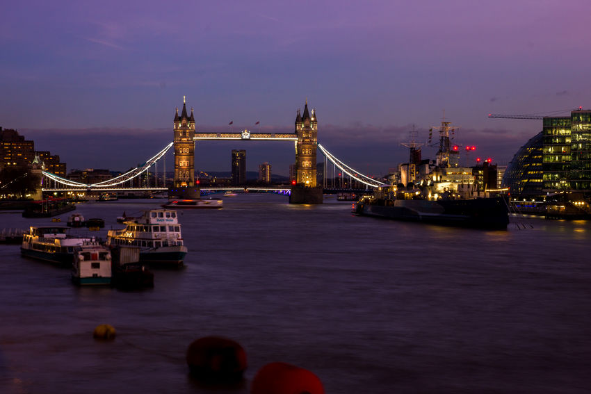 Tower Birdge at night Bridge City Cityscape Illuminated Lights London Night Purple River Sky Thames Tower Bridge  Water