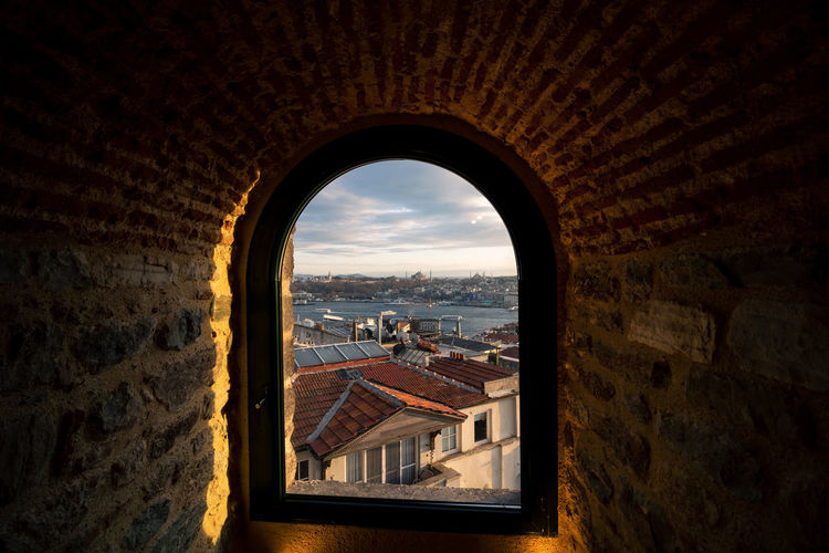 Cityscape of istanbul from a window of galata tower