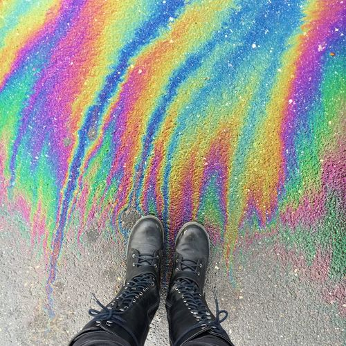 OilSlick Rainbow Colorful Boots Rain Trippy Glitch ~oil slick art in the parking lot at work! I love it!!🌈